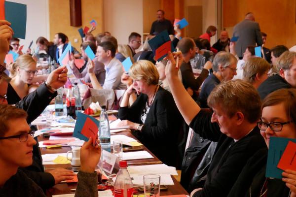 Männer und Frauen sitzen an langen Tische und halten rote und/oder blaue Karten hoch