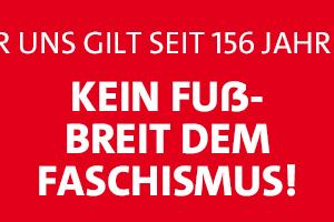 Banner Kein Fuss breit dem Faschismus