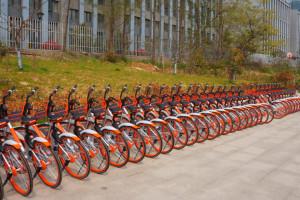 Eine lange Reihe von orangen Fahrrädern nebeneinander in Fahrradständern