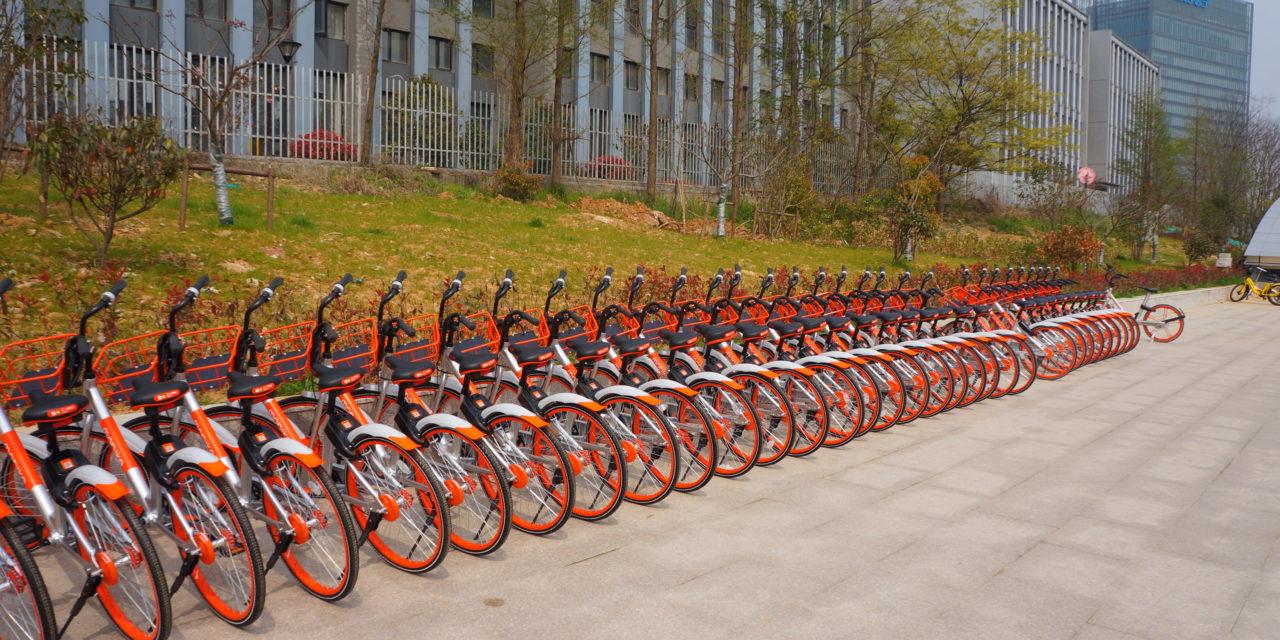 Lange Reihe von orangen Fahrrädern nebeneinander in Fahrradständern