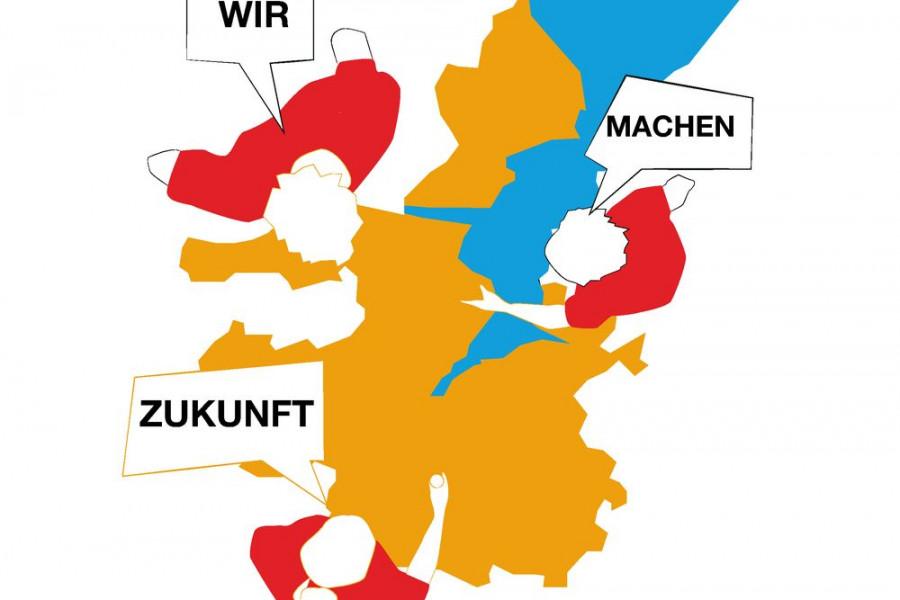 Drei jungen Menschen von oben gebeugt über eine Grafik von Kiel