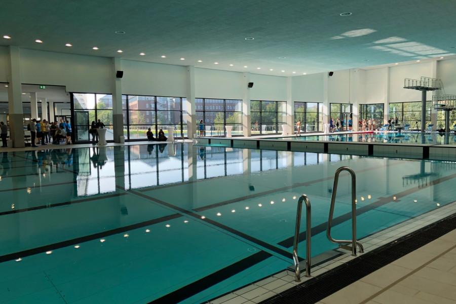 Schwimmhalle mit spiegelglatten Wasserbecken