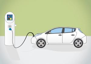 Zeichnung Elektroauto an Steckdose