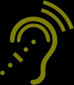 Stilisiertes Ohr mit Schallwellen