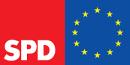 Logo SPD und EU, gelbe Sterne auf blauem Grund