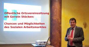 Gerwin Stöcken bei der öffentlichen OV-Sitzung zum Thema Chancen und Möglichkeiten des Sozialen Arbeitsmarktes