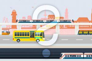 Dieses Bild zeigt eine Illustration der Stadt Kiel - im Hintergrund die Stadt als Silhouette - im Hinblick auf die in der Zukunft möglichen verschiedenen Verkehrswege. Im Vordergrund sieht man U-Bahn, Bus, Bahn und Dampfer. Über dem Gesamtbild liegt ein Fragezeichen als Wasserzeichen