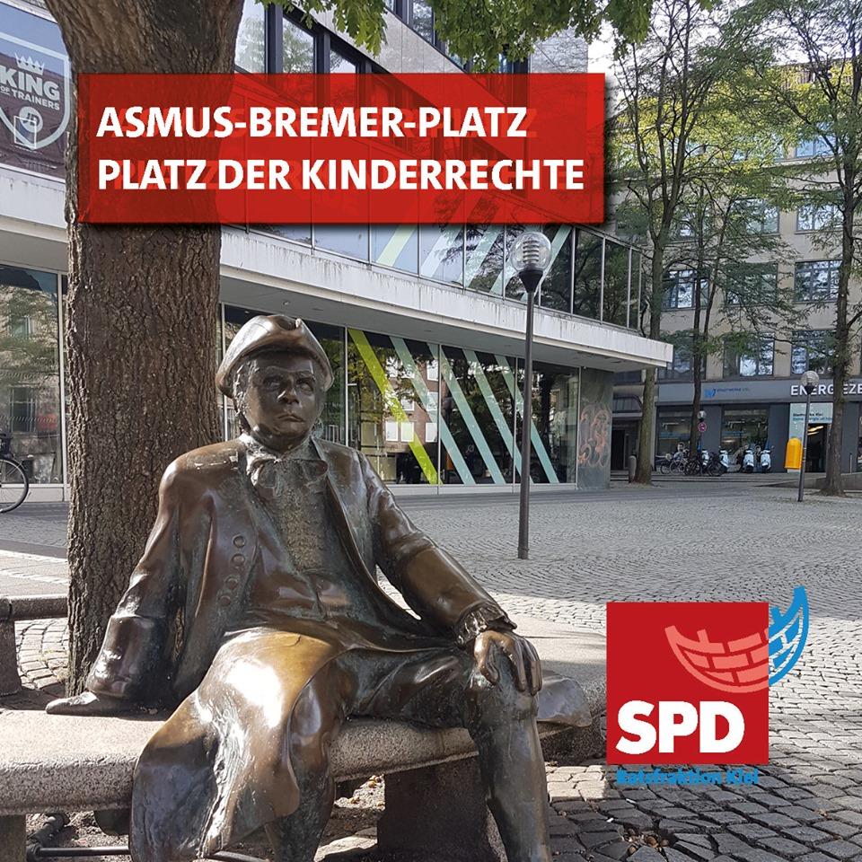 Foto vom Asmus-Bremer-Platz im Zentrum von Kiel bei Sonnenschein.