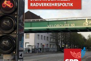 Sharepic aus Facebook. Foto, welches die Velouroute 10 in Kiel an einer Stelle in Kiel zeigt.