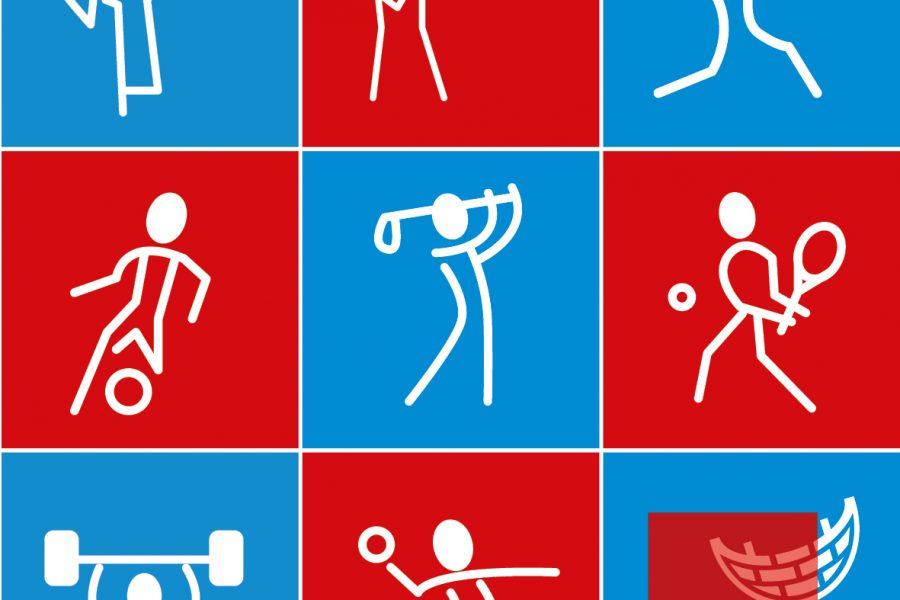 Ein 9-geteiltes Bild mit 8 Sport-Symbolen verschiedener Sportarten: Judo, Schießen, Fechten, Fussball, Golf, Tennis, Gewichteheben & Handball. Im letzten Feld ist das SPD Ratsfraktion Kiel Logo dargestellt