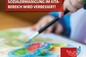 Kinderhände tuschen ein farbiges Bild. Sozialermäßigung im Kitabereich wird verbessert