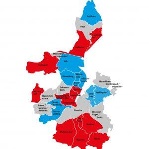 Karte von Kiel der Mitglieder der SPD-Ratsfraktion in den Stadtteilen