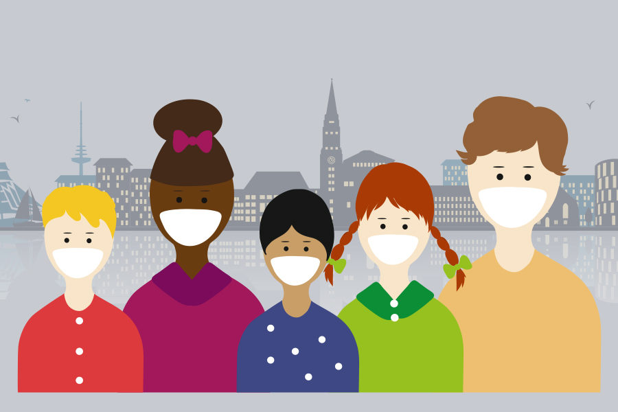 Bild zeigt eine Illustration mit 5 Personen mit verschiedenem Alter und verschiedener Herkunft samt Atemschutzmaske und im Hintergrund wird die Stadt Kiel als Silhouette gezeigt.
