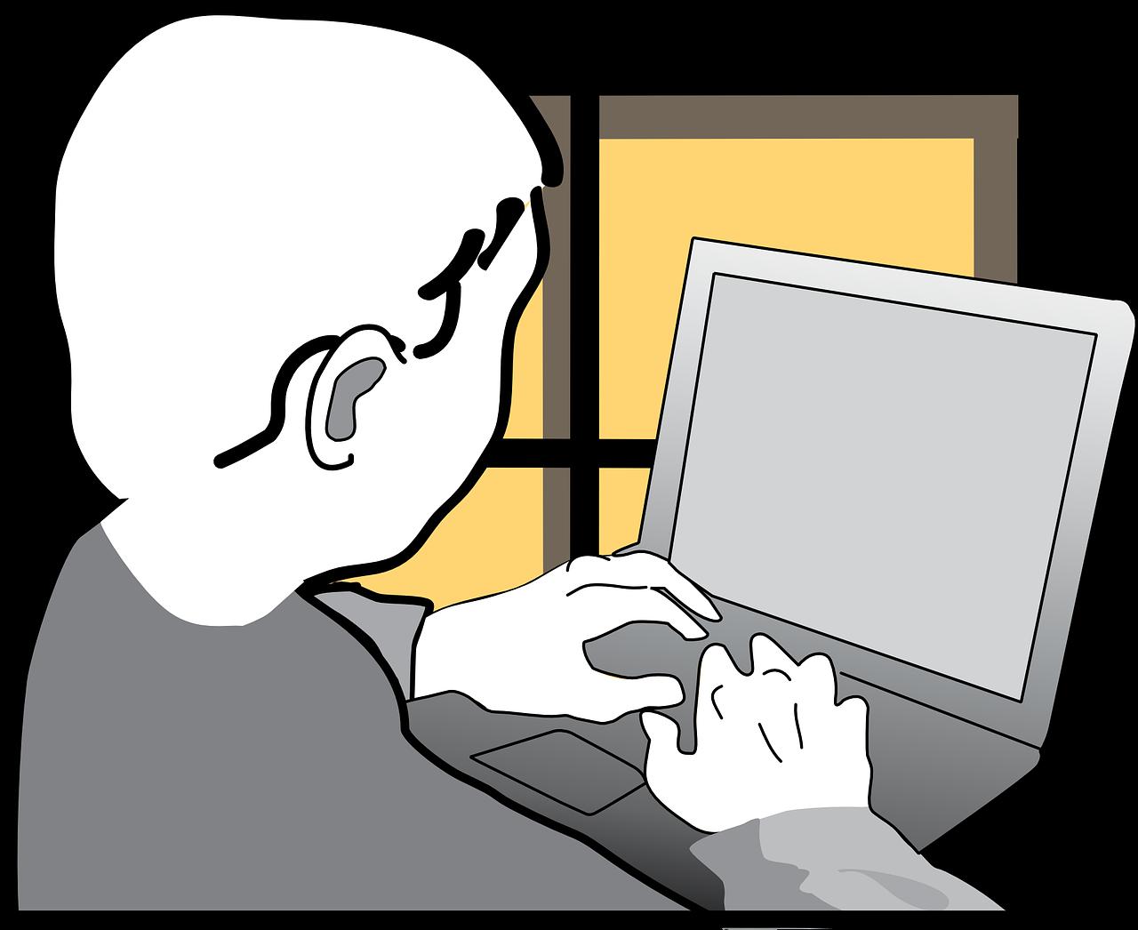 Junger Mensch tippt auf Laptop. Im Hintergrund ein Fenster mit gelben Scheiben.