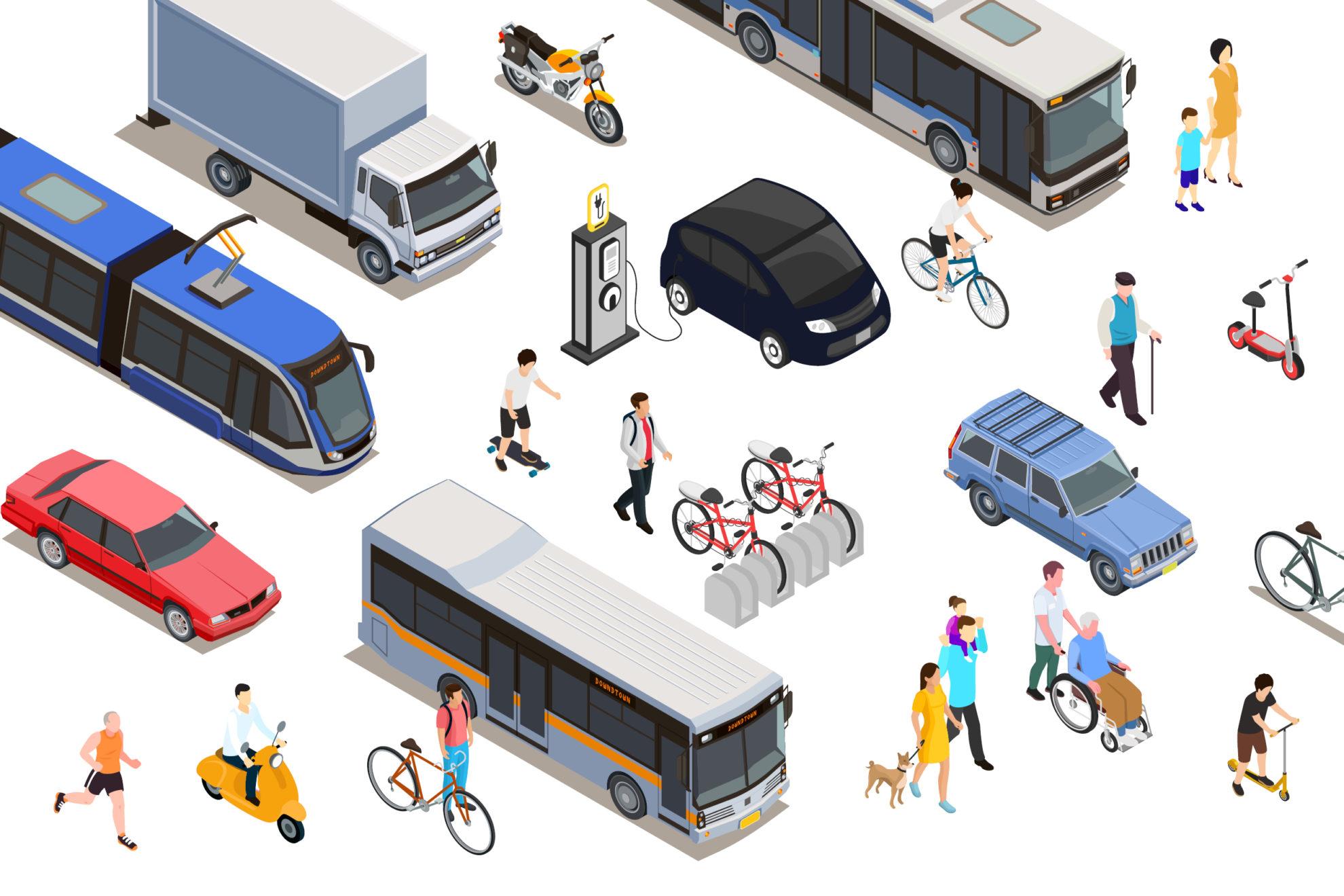 Illustration mit allen Verkehrsträgern wie Auto, Fahrrad, Roller, Vespa, Fußgänger, Laster, Bus, Skateboard, Motorrad