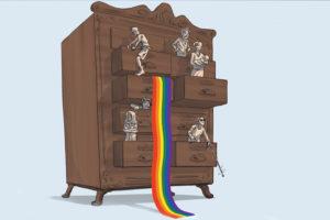 Zeichnung einer Kommode mit teilweise offenen Schubläden. Aus einer hängt eine regenbogenfarbene Fahne. Die Figuren, die aus den anderen Schubläden ragen, sind unterschiedlichster Herkunft, mit unterschiedlichem Geschlecht etc.