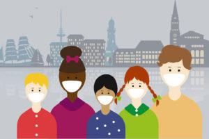 Illustration von diversen Menschen verschiedener Herkunft mit einer Mund- und Nasenschutz-Maske. Im Hintergrund ist die Skyline von Kiel