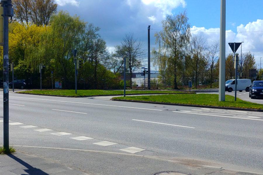 Blick auf unbebautes Grundstück von Werftstraße aus